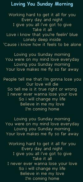 Loving You Sunday Morning